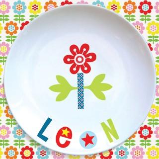 Assiette plate FLEUR ROUGE