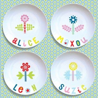 4 assiettes plates FLEURS